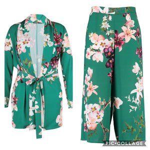 Boohoo Plus Oriental Floral Blazer and Trouser set